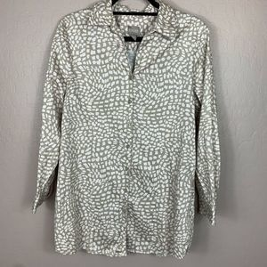 Chicos Button Up Shirt Long Sleeve Pink Tan 2 L